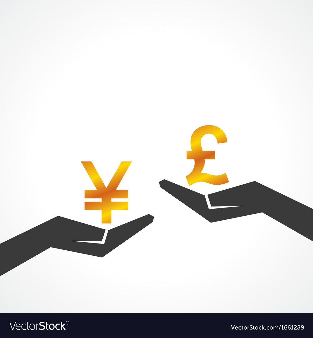 Hand hold yen and pound symbol to compare vector | Price: 1 Credit (USD $1)