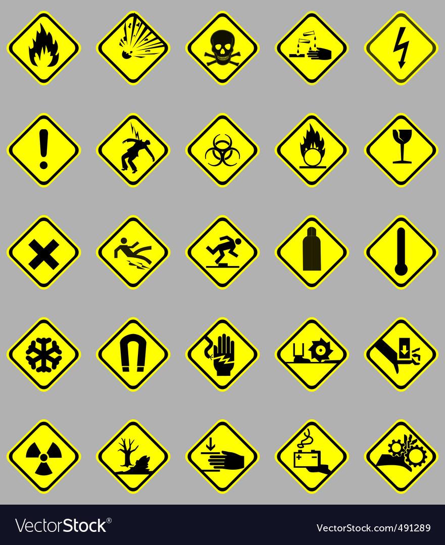 Hazard signs set vector | Price: 1 Credit (USD $1)