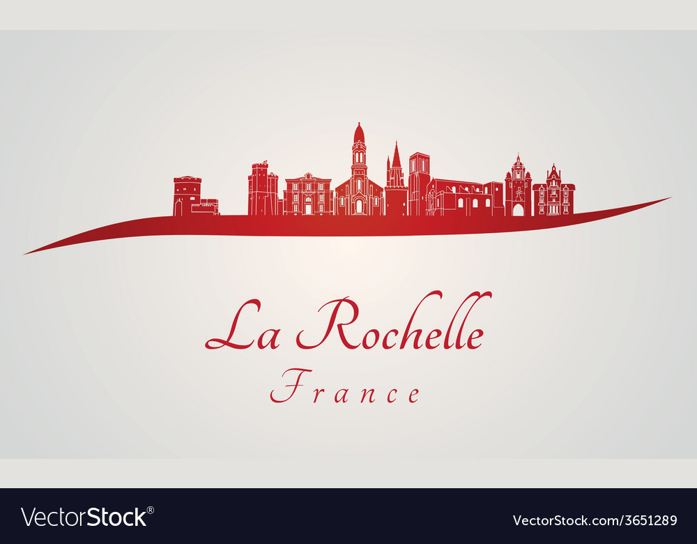La rochelle skyline in red vector | Price: 1 Credit (USD $1)