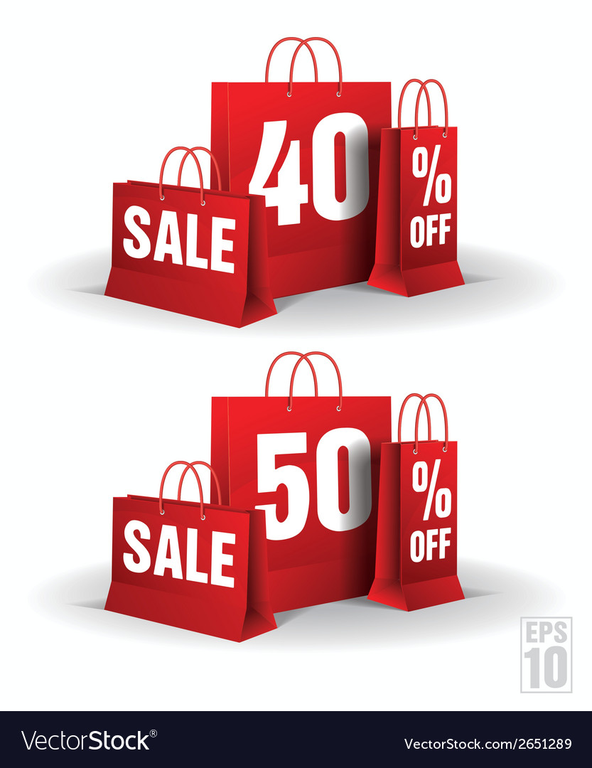 Shopping bag printed with a forty and fifty vector | Price: 1 Credit (USD $1)
