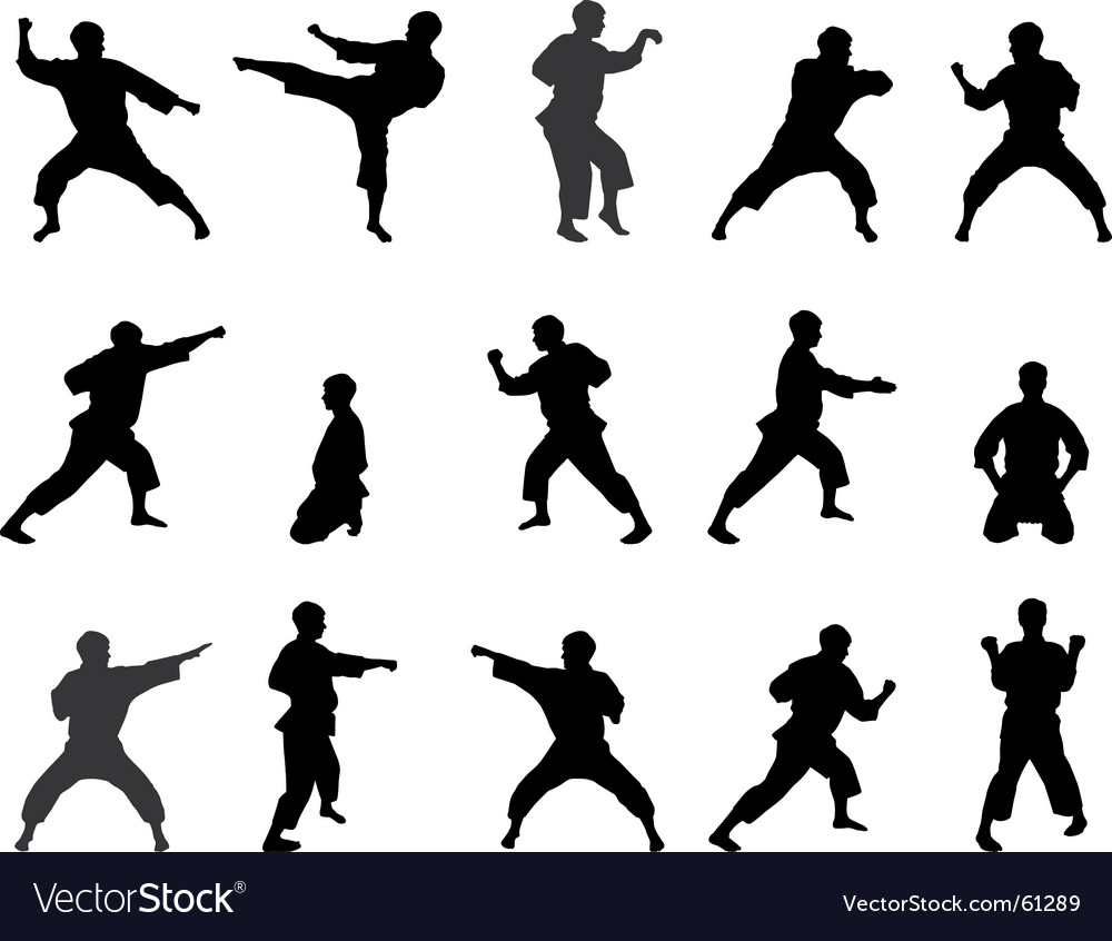 Silhouettes of karate vector | Price: 1 Credit (USD $1)