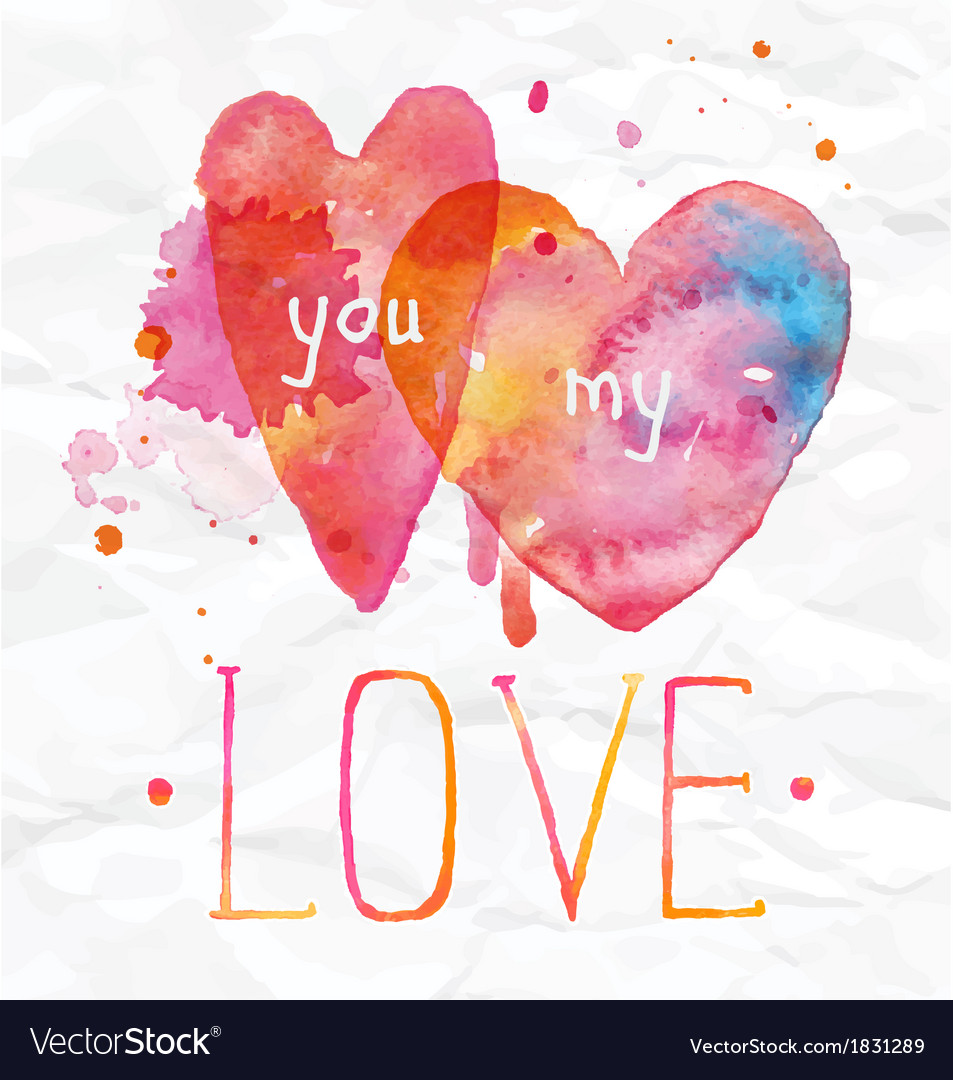 Watercolor valentines day hearts lettering love vector | Price: 1 Credit (USD $1)