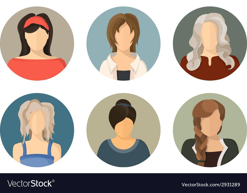 Women circle avatar icon set vector | Price: 1 Credit (USD $1)