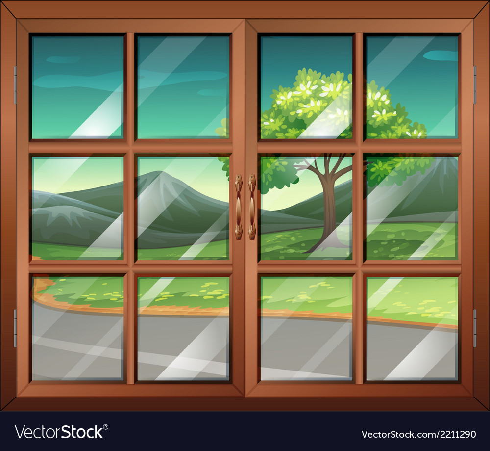A closed window with a view of the road vector | Price: 1 Credit (USD $1)