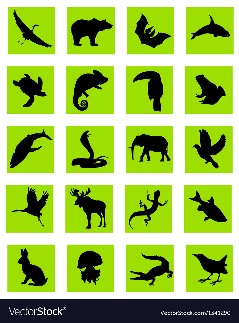 Animal silhouette green icons vector | Price: 1 Credit (USD $1)
