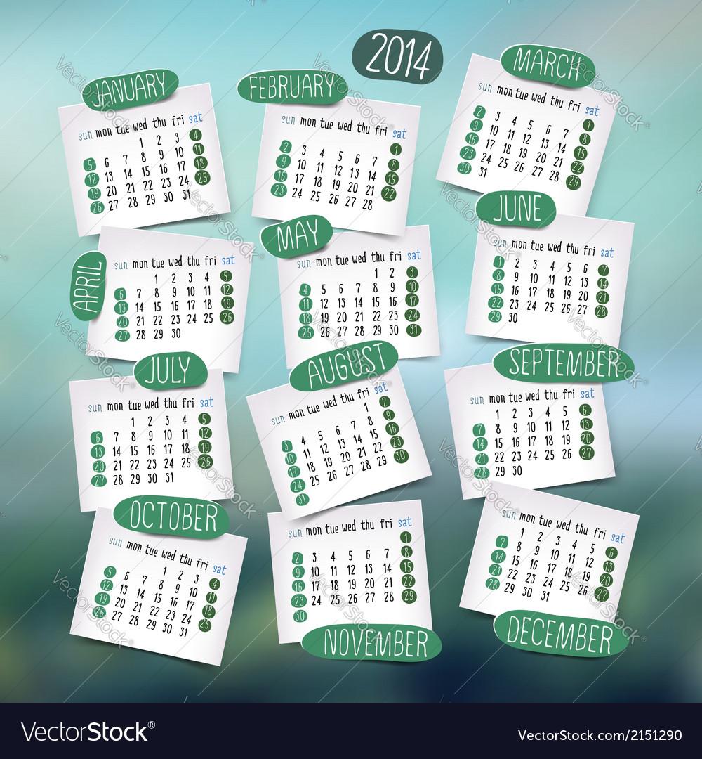Calendar design english vector | Price: 1 Credit (USD $1)