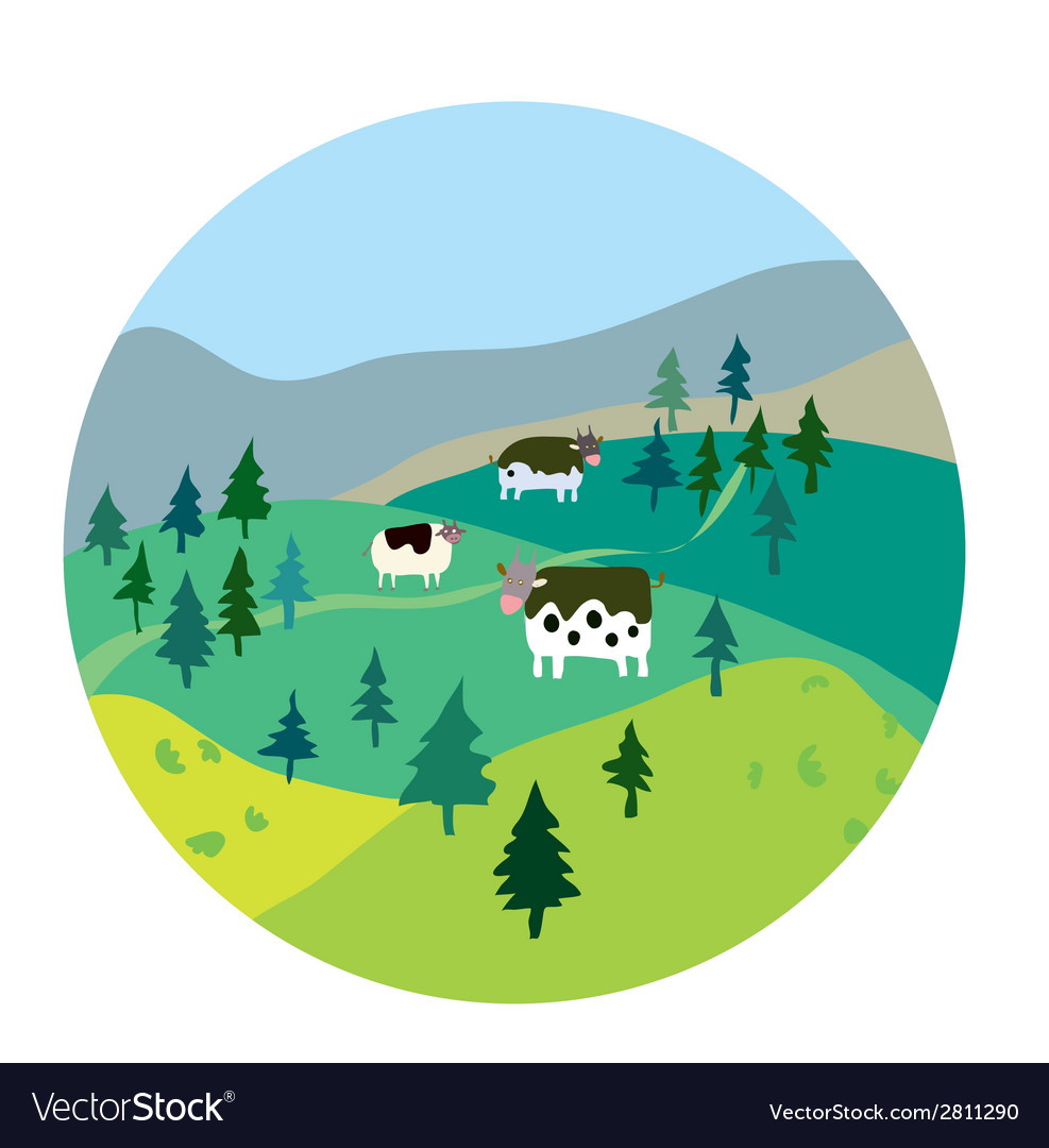 Cows and landscape vector | Price: 1 Credit (USD $1)
