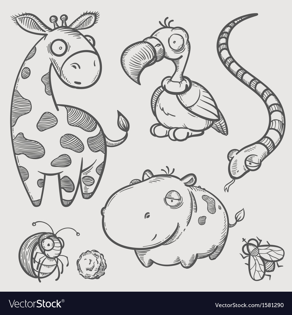 Engraving of african animals vector | Price: 1 Credit (USD $1)