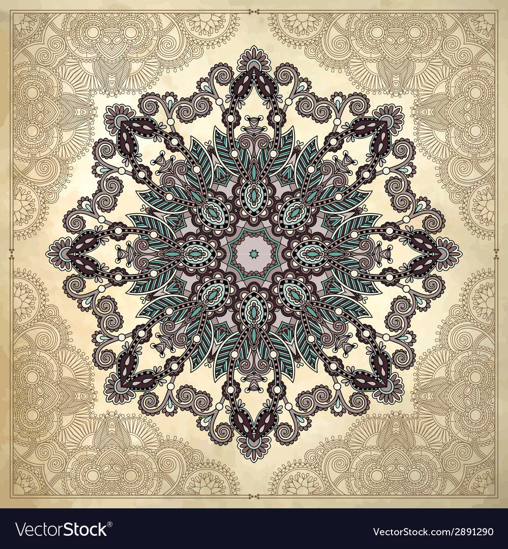Flower circle design on grunge background with vector | Price: 1 Credit (USD $1)