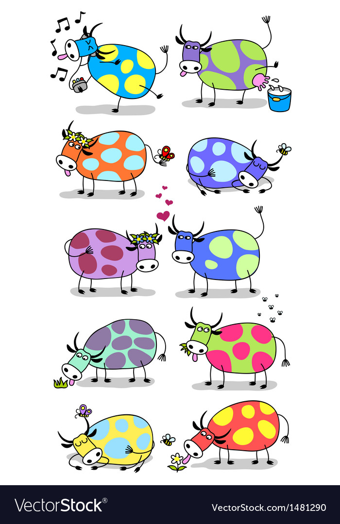 Funny cows set vector | Price: 1 Credit (USD $1)