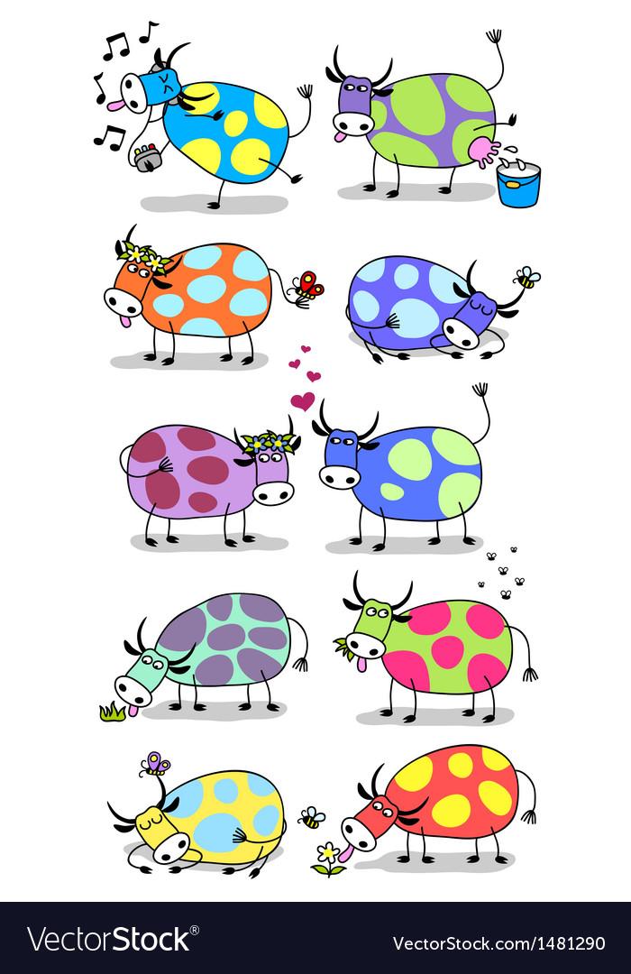Funny cows set vector