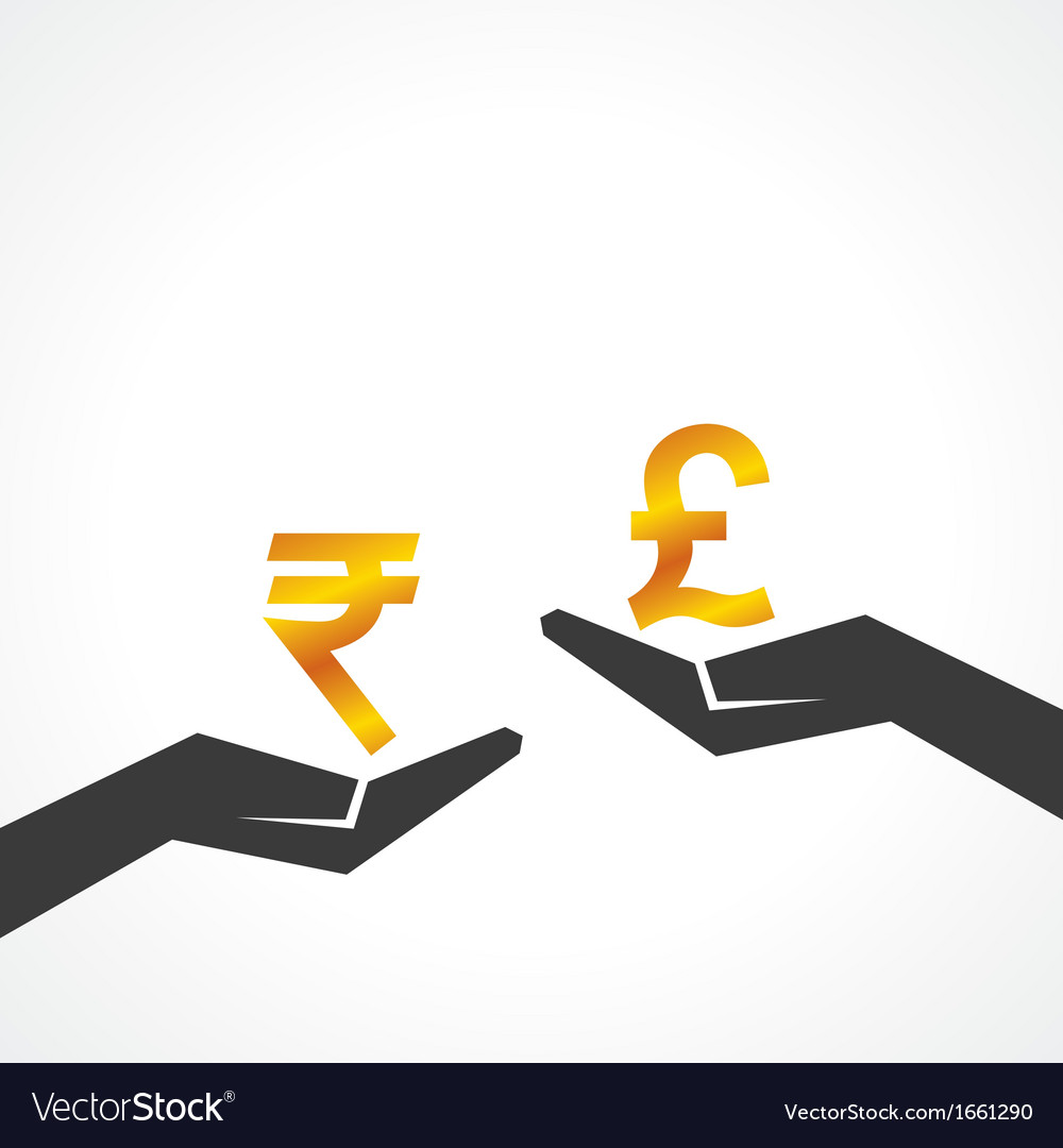 Hand hold rupee and pound symbol to compare vector | Price: 1 Credit (USD $1)