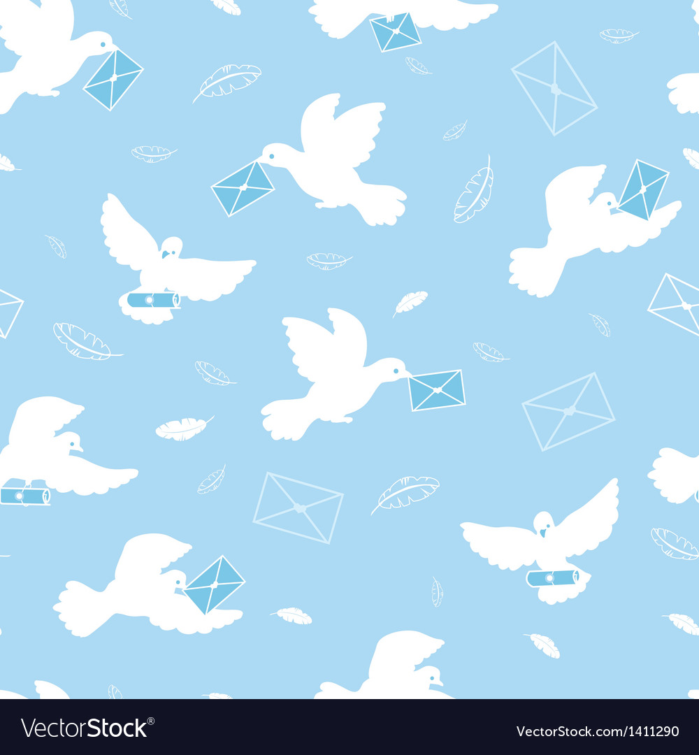 Mail pigeons seamless pattern background vector | Price: 1 Credit (USD $1)