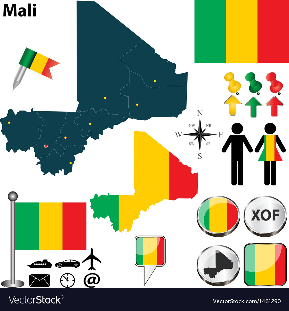 Mali map vector | Price: 1 Credit (USD $1)
