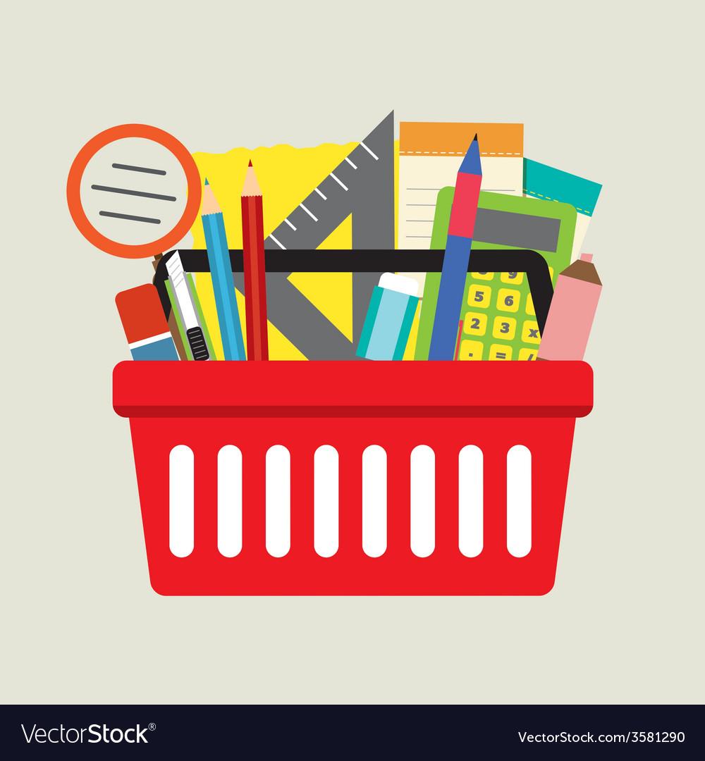 School supplies in basket vector   Price: 1 Credit (USD $1)