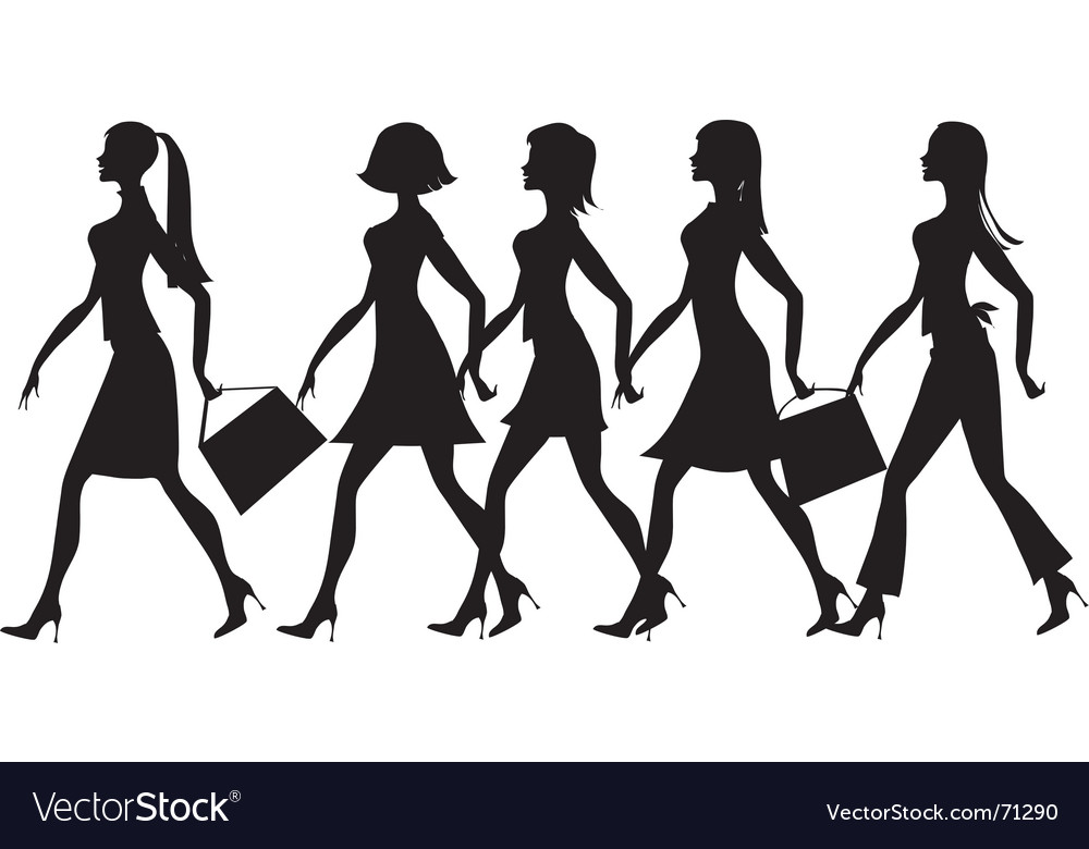 Silhouette of 5 ladies vector | Price: 1 Credit (USD $1)