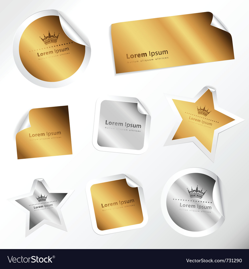 Silver and gold stickers vector | Price: 1 Credit (USD $1)