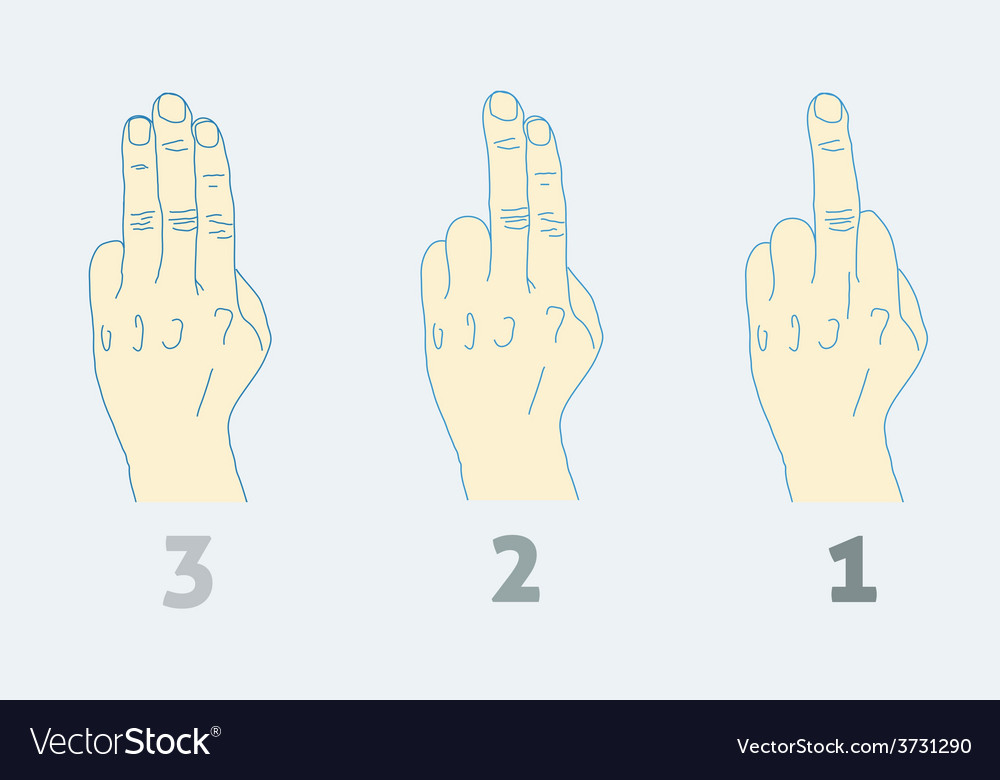 Three step countdown with middle finger light vector | Price: 1 Credit (USD $1)