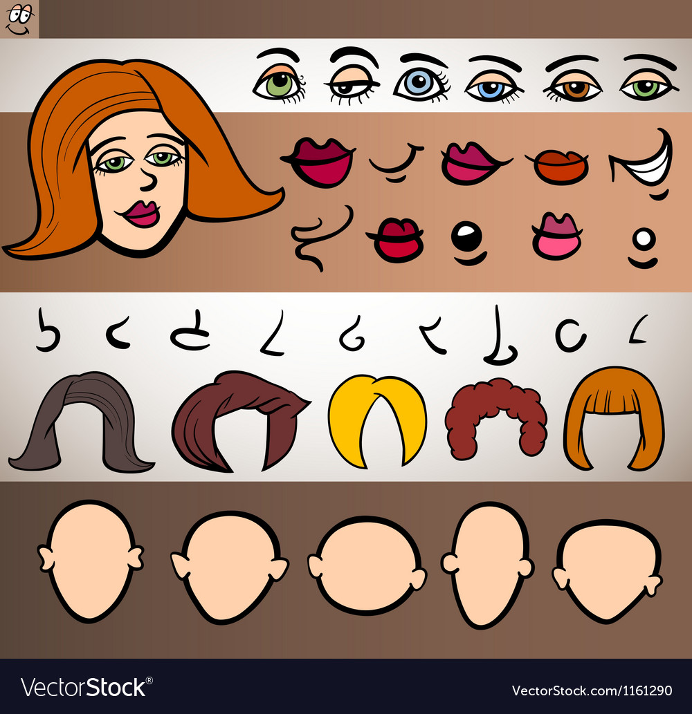 Woman face elements set cartoon vector | Price: 1 Credit (USD $1)