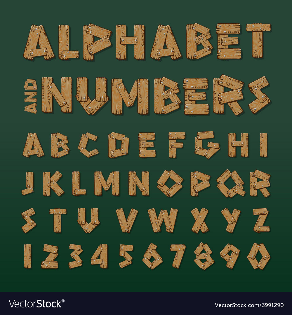 Wooden alphabet and numbers vector | Price: 1 Credit (USD $1)