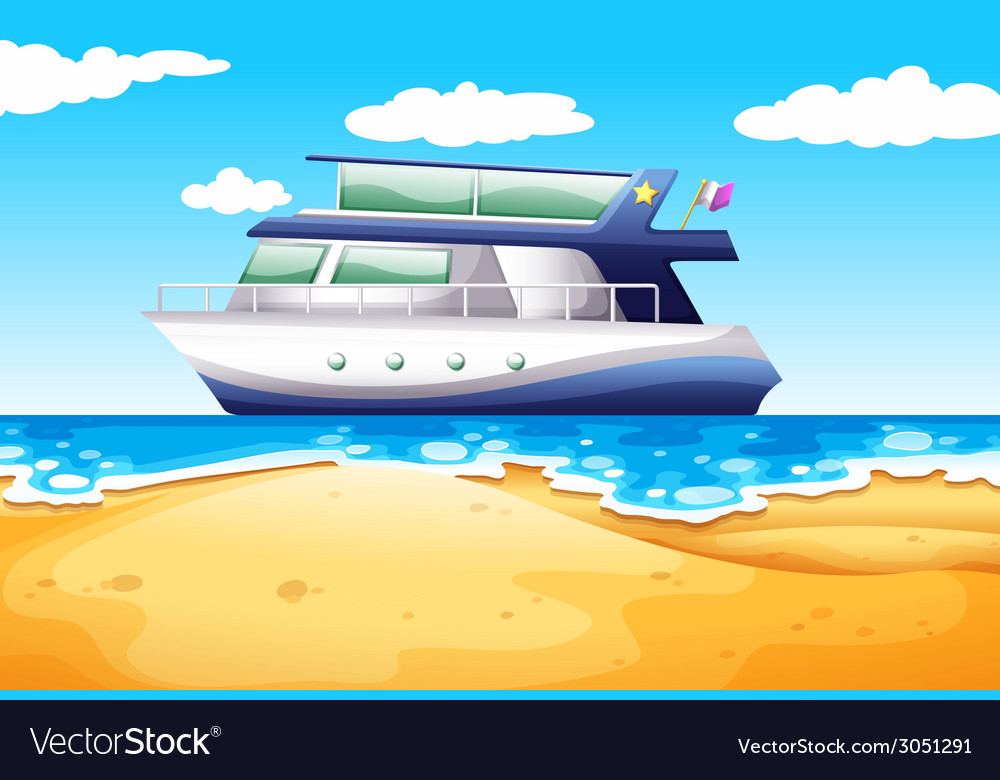 Beach and boat vector | Price: 1 Credit (USD $1)