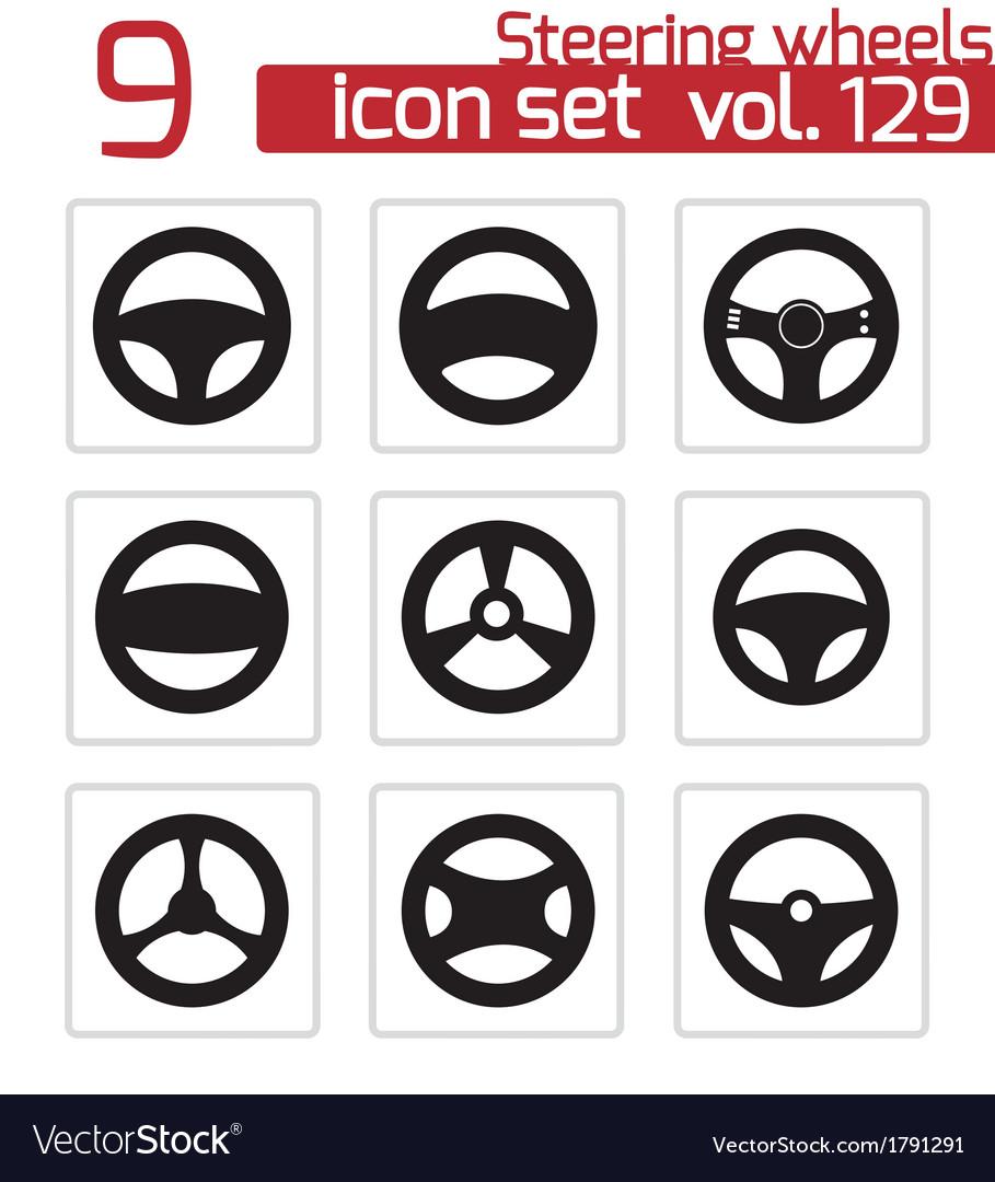 Black steering wheels icons set vector | Price: 1 Credit (USD $1)