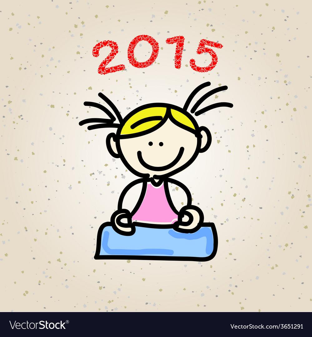 Cartoon happy people meditation vector | Price: 1 Credit (USD $1)