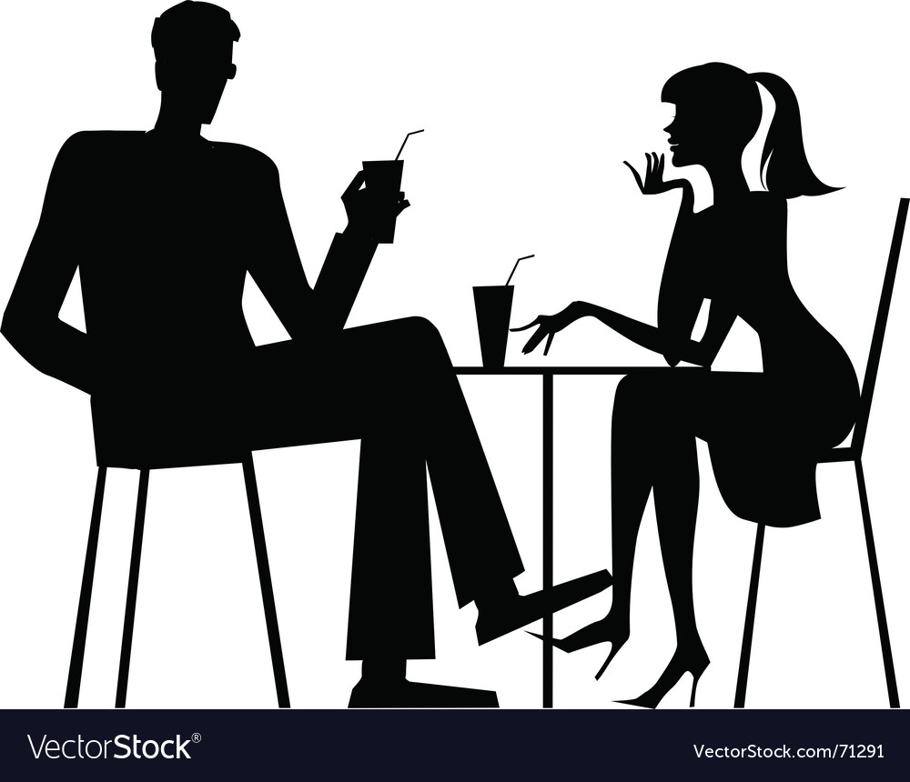 Couple at cafe vector | Price: 1 Credit (USD $1)