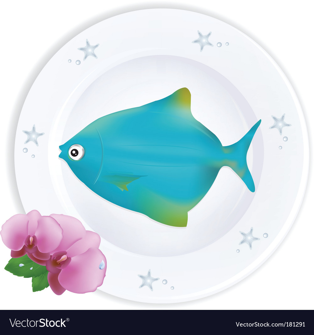 Fish on plate vector | Price: 1 Credit (USD $1)