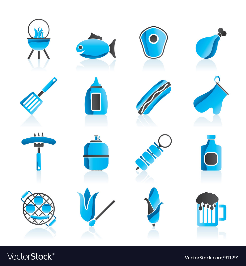 Grilling and barbecue icons vector | Price: 1 Credit (USD $1)