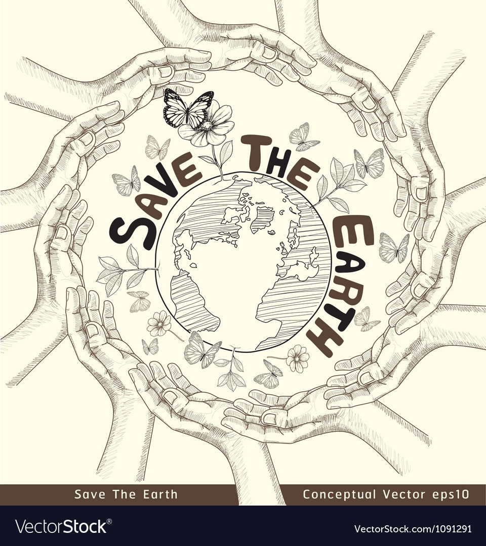 Hands save the earth drawing conceptual vector | Price: 1 Credit (USD $1)