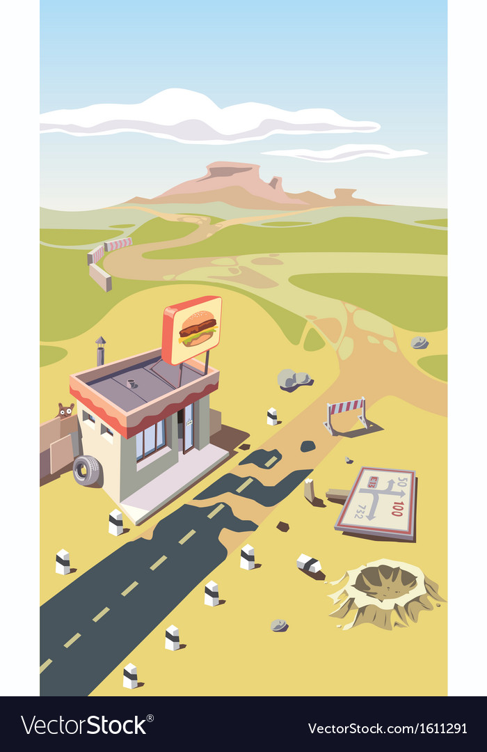 Snack bar in a desert vector | Price: 3 Credit (USD $3)