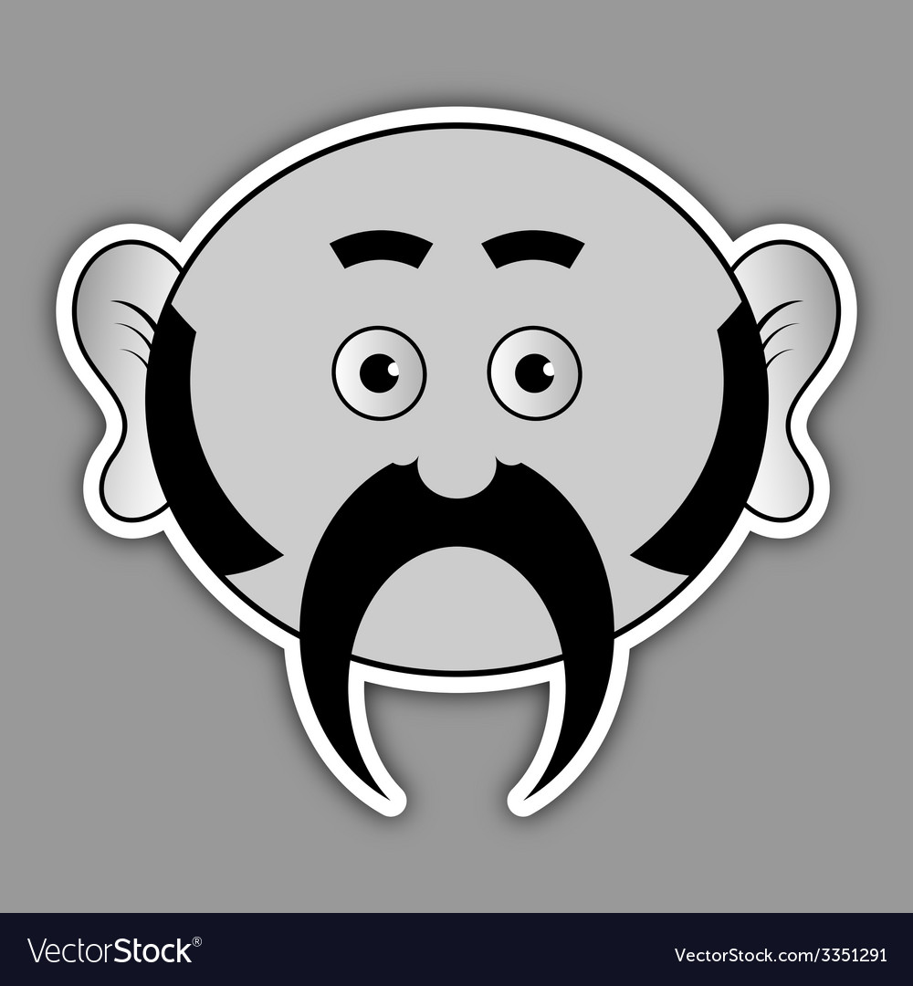 Sticker - ridiculous man with a black mustache vector | Price: 1 Credit (USD $1)