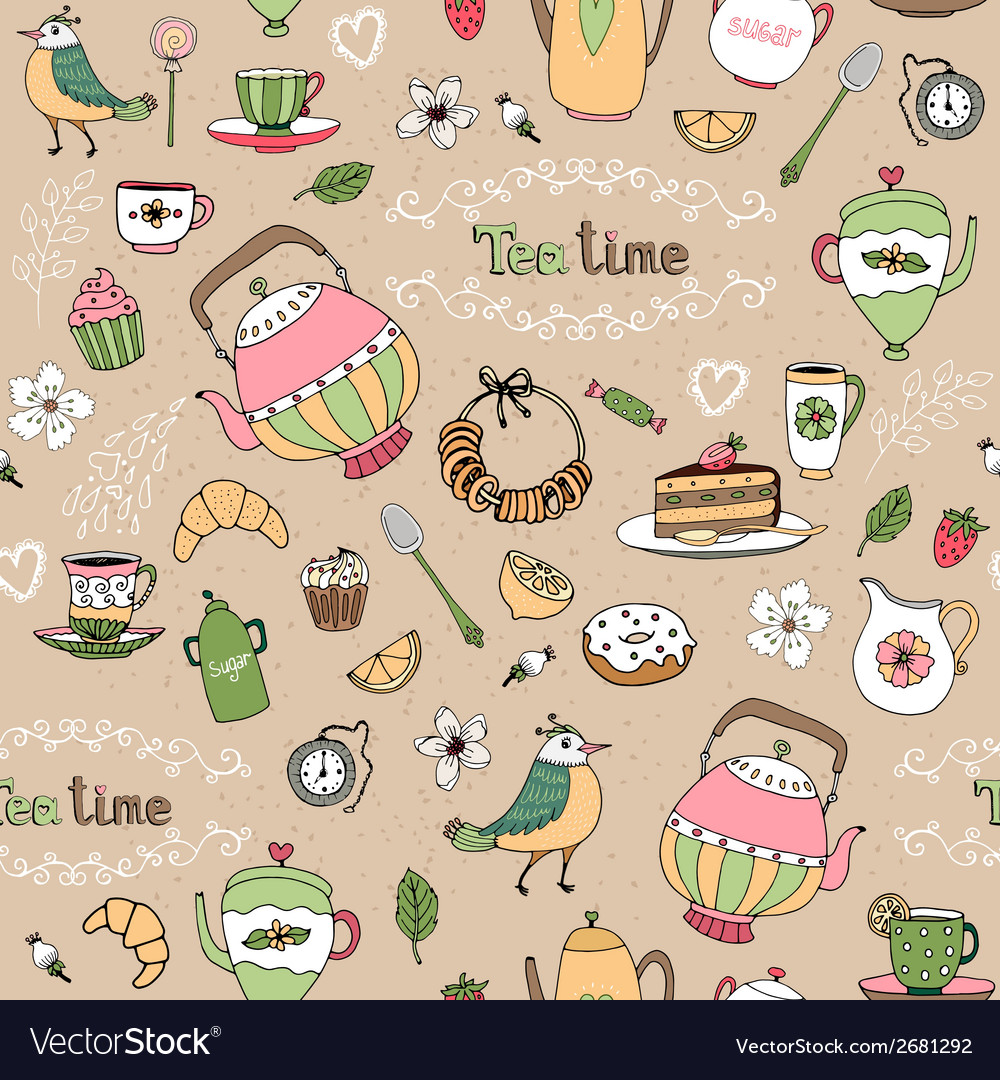 Afternoon tea seamless background pattern vector | Price: 1 Credit (USD $1)