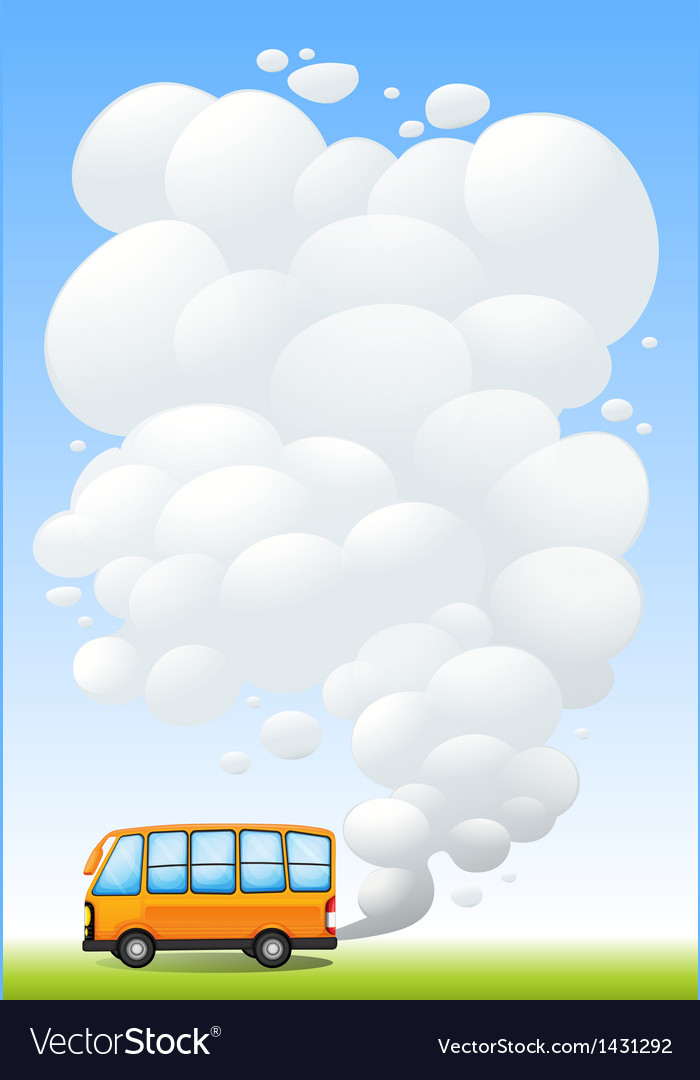 An orange bus emitting smoke vector | Price: 1 Credit (USD $1)