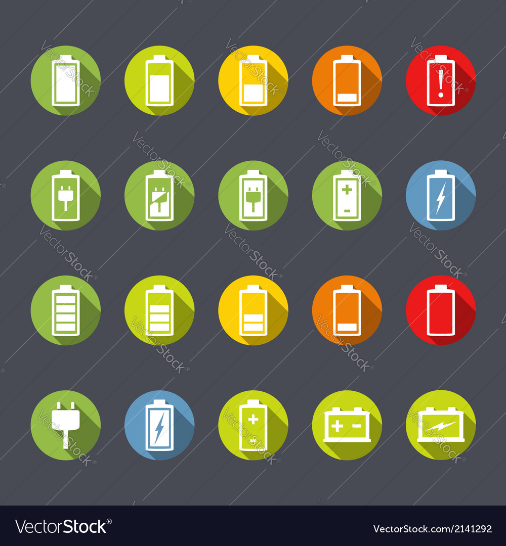 Battery icons flat design vector | Price: 1 Credit (USD $1)