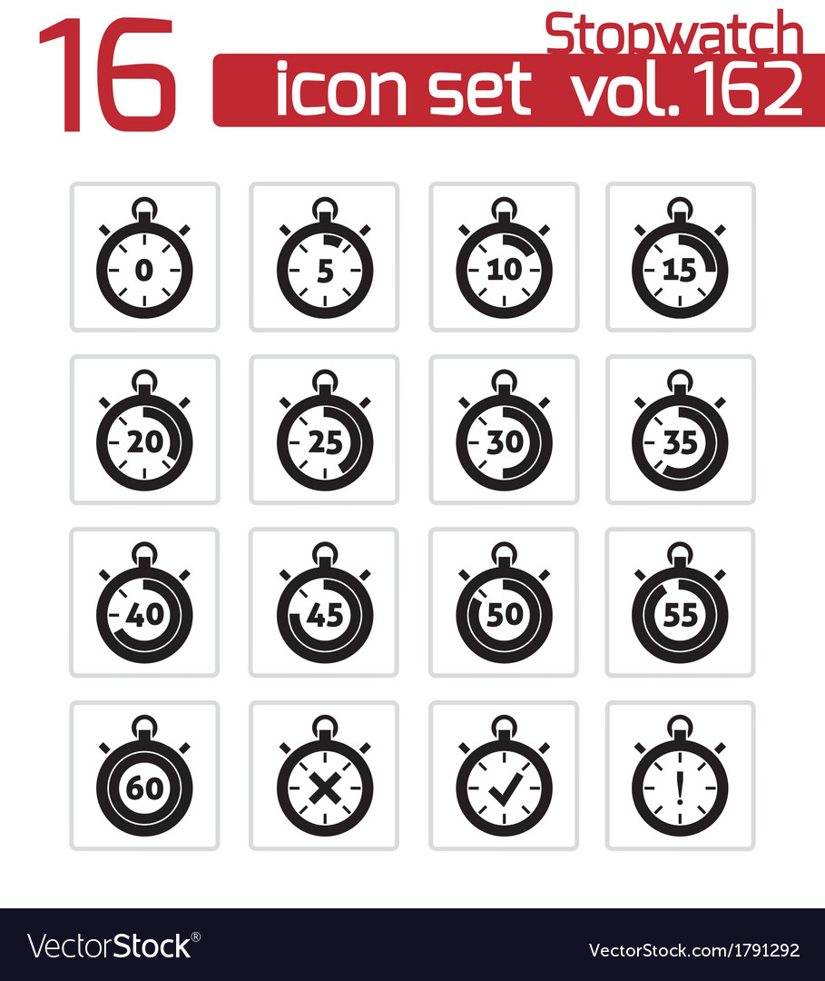 Black stopwatch icons set vector | Price: 1 Credit (USD $1)