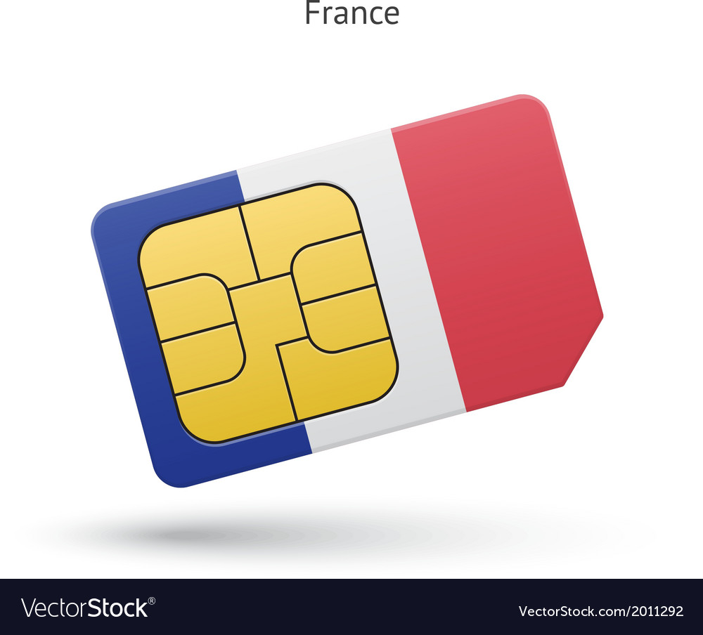 France mobile phone sim card with flag vector | Price: 1 Credit (USD $1)