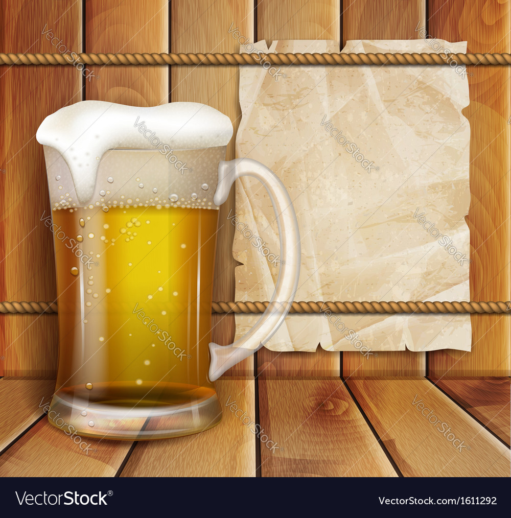 Glass of beer and a wooden background vector   Price: 1 Credit (USD $1)