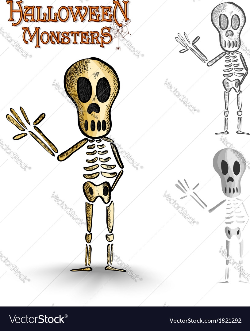 Halloween monsters spooky human skeleton eps10 vector | Price: 1 Credit (USD $1)