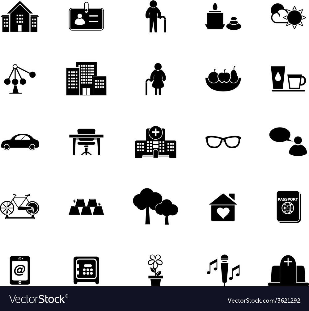 Retirement community icons on white background vector   Price: 1 Credit (USD $1)