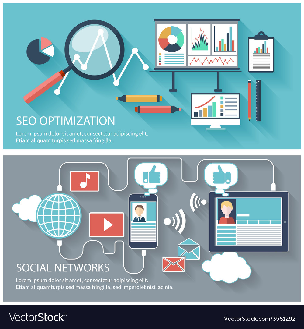 Seo optimization and social network vector | Price: 1 Credit (USD $1)