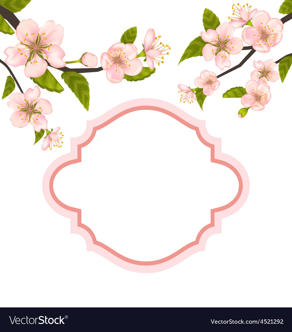 Spring elegant card with blossoming tree branches vector | Price: 1 Credit (USD $1)