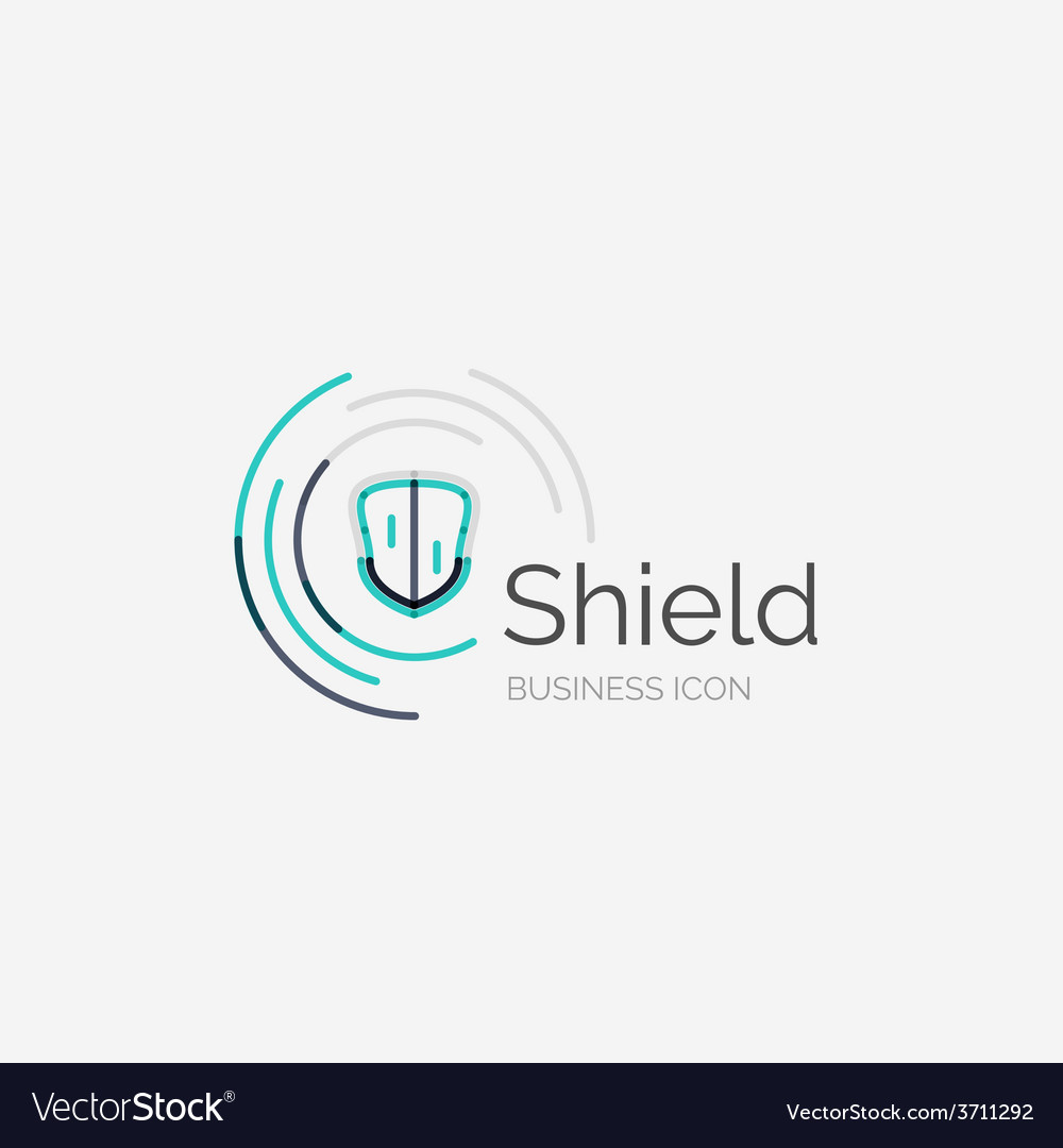 Thin line neat design logo shield icon vector | Price: 1 Credit (USD $1)
