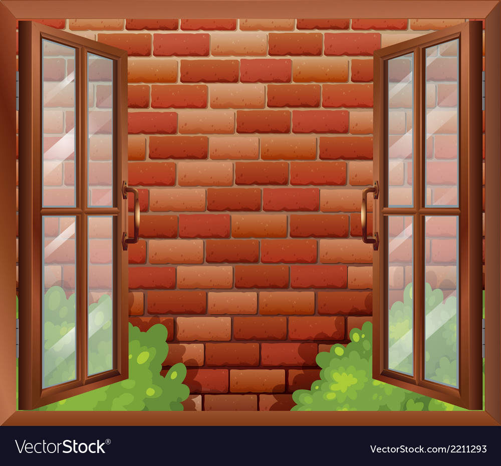 A window and the tall stonewall vector | Price: 1 Credit (USD $1)