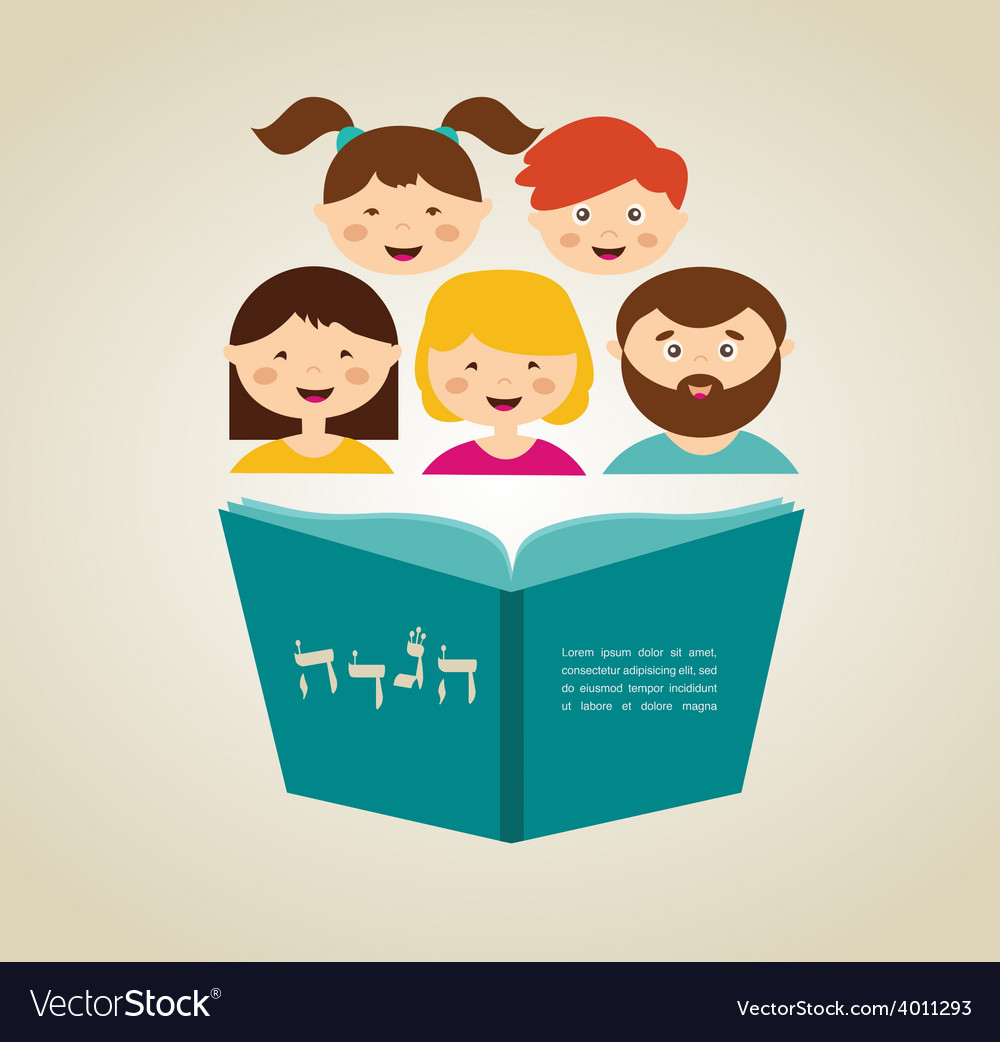 Family reading hagada book at passover holiday vector | Price: 1 Credit (USD $1)
