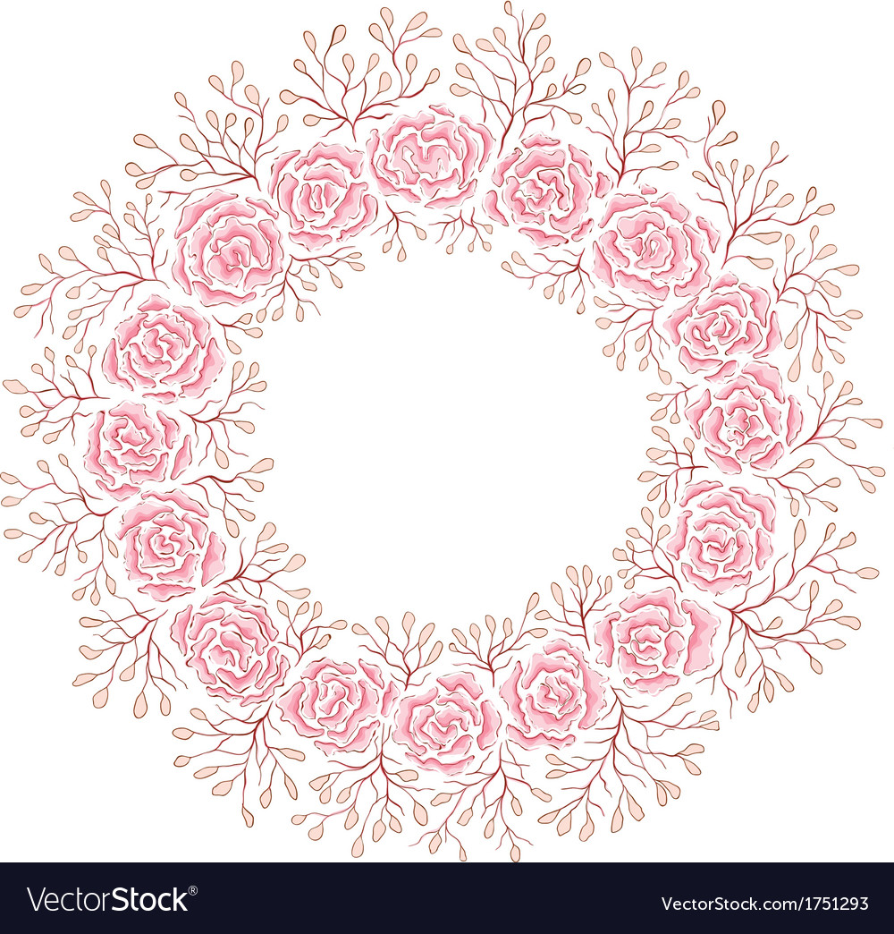 Hand drawn rose frame vector | Price: 1 Credit (USD $1)