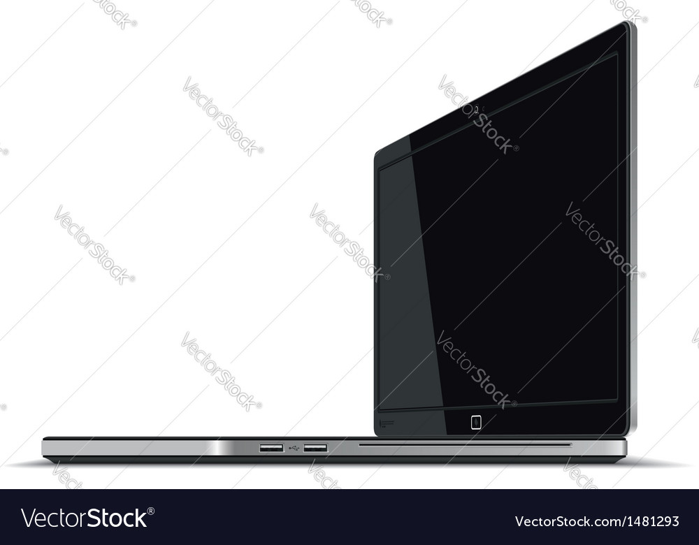 Laptop right side horizontal view vector | Price: 1 Credit (USD $1)