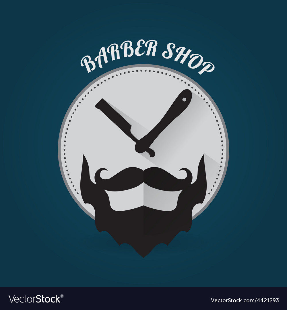 Modern flat style barber shop template vector
