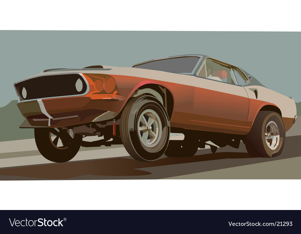 Old drag car vector | Price: 3 Credit (USD $3)